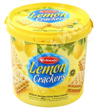 Печенье сэндвич-крекер Soft Crackers Sandwich Lemon (лимон) 400 гр, Индонезия
