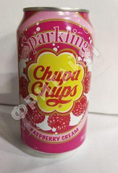 Chupa Chups Raspberry cream (Чупа Чупс Малина со сливками), 0.345л, ж/б,  Корея