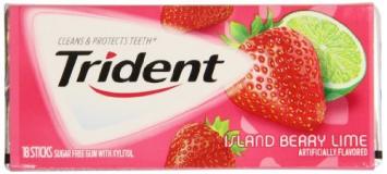 Жевательная резинка Trident Original Island Berry Lime, США