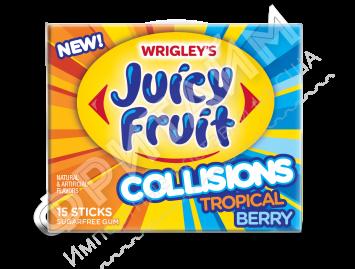 Жевательная резинка Wrigley Gum Juicy Fruit Collisions Tropical Berry, США