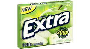 Wrigley Extra Gum Green sour apple, США,  СНЯТО С ПРОИЗВОДСТВА