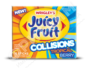 Жевательная резинка Wrigley Gum Juicy Fruit Collisions Tropical Berry, США